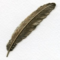 Medium Feather Stampings Oxidized Brass 88mm (2)