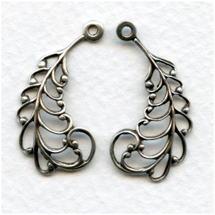 Filigree Openwork Oxidized Silver Leaves 29mm (3 pair)