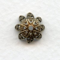 Delicate Filigree Caps for 10mm Beads Oxidized Brass (12)