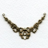 Ribbon Swag Connector 3 Loops Oxidized Brass (6)
