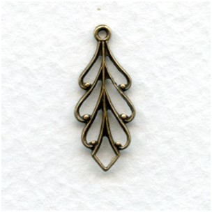 Filigree Leaf Pendants Oxidized Brass 22mm (6)