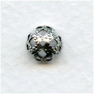 Filigree Bead Caps Oxidized Silver 7mm (12)
