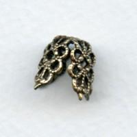 Filigree Flower Bead Caps Oxidized Brass 10mm (6)