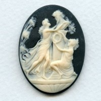 ^Nymphs at the Altar of Zeus 40x30mm Ivory on Jet Cameo