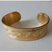 Floral Embossed Raw Brass Cuff 19mm