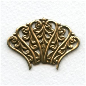 ^Ornate Openwork Stampings Oxidized Brass 41mm (2)