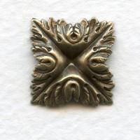 Leafy Square Oxidized Brass 15mm (6)