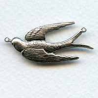 Large Bird Connectors Oxidized Silver 41mm (3)