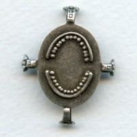 Turtle Style Settings 25x18mm Oxidized Silver (3)