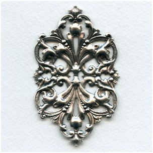 Large Oval Openwork Stamping Oxidized Silver (1)