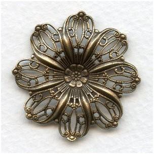Filigree Flower Shapes Oxidized Brass 35mm (3)
