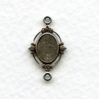 Floating leaves Connector Settings 8x6mm Oxidized Silver (12)