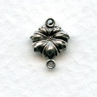 Tiny Flower Connectors 2 Loops Oxidized Silver