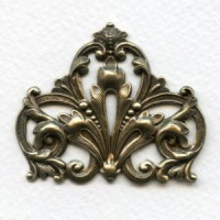 Grand Ornate Corner Stamping Oxidized Brass (1)