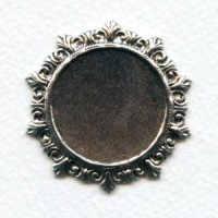 Rococo Style Solid Back Setting Oxidized Silver 27mm