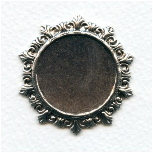 Rococo Style Solid Back Setting Oxidized Silver 27mm (1)