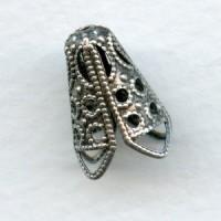 Filigree Cone Bead Caps 12mm Oxidized Silver (12)