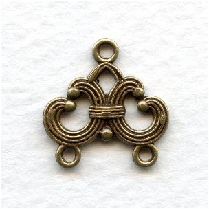 Two Strand Connectors 17mm Oxidized Brass (6)