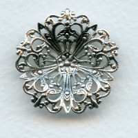 Round Flower Shaped 29mm Filigree Oxidized Silver (3)