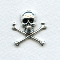 Skull and Crossbones 21mm Oxidized Silver (6)