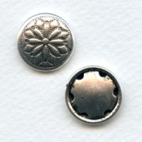 ^Fancy Button Stampings Oxidized Silver 18mm (6)