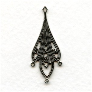 Filigree Detail Connectors 36mm Oxidized Silver (6)