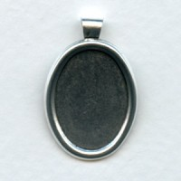 Setting Bezels 18x13mm Bail Attached Oxidized Silver (6)