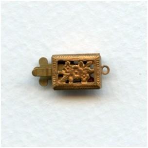 ^Single Strand Filigree Box Clasps Raw Brass (6)