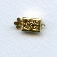 ^Single Strand Filigree Box Clasps Gold-Plated (6)