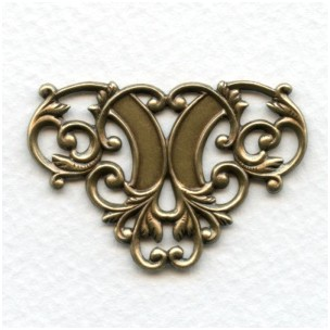 Floral Ornamental Openwork Stampings Oxidized Brass Triangle (4)