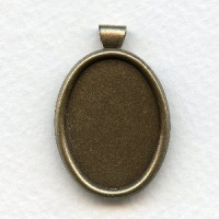 Setting Bezels 25x18mm Bail Attached Oxidized Brass (3)