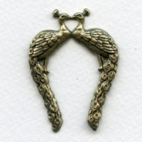 Vintage Rare Oxidized Brass Double Peacocks Stamping ^ (1)