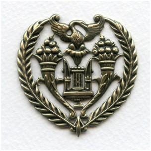 ^Vintage Rare Ornate French Royal Crest Oxidized Brass Stamping (1)