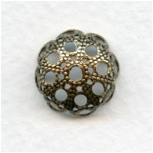 Round Filigree Bead Caps 14mm Oxidized Brass (12)