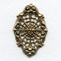 Scrollwork and Filigree Oxidized Brass Stamping 49mm (1)
