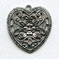 European Made Floral Heart Pendant Oxidized Silver 34mm (1)