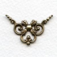 Openwork Ornate Corners Oxidized Brass 33mm (4)