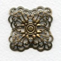 Filigree Squares Great Size 31mm Oxidized Brass (3)