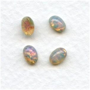 Pink Fire Opal Glass Cabochons 6x4mm (4)