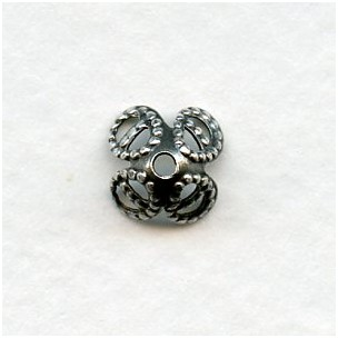 Filigree Bead Caps for 8mm Beads Oxidized Silver (24)