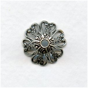 Ornate Filigree Bead Caps 15mm Oxidized Silver (12)