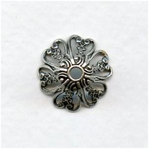 Ornate Filigree Bead Caps 15mm Oxidized Silver (6)