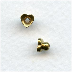 Heart Shaped Solid Raw Brass Bead Caps (24)