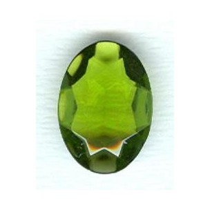 ^Olivine Glass Oval Unfoiled Jewelry Stone 25x18mm