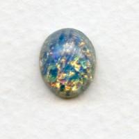 Blue Glass Opal Cabochons Handmade 12x10mm (2)