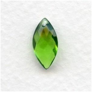 ^Briolette Marquis Shape Glass Pendant Olivine 14x7mm