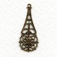 Delicate Filigree Drop 32mm Oxidized Brass (6)