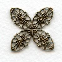 Four Corner Filigrees 24mm Oxidized Brass (6)