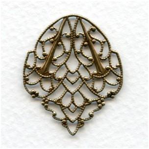 Filigree Leaves Oxidized Brass 33mm (3)