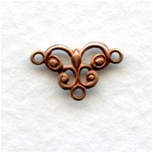 Tiny Connector Filigree Oxidized Copper 13mm (12)